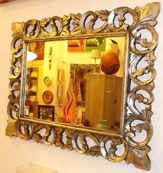 Specchio in legno di Noce Indiano con Intarsi!!!ColoreArgento Anticato stile Barocco predisposto per essere posizionato  sia inverticale che in orizzontale!