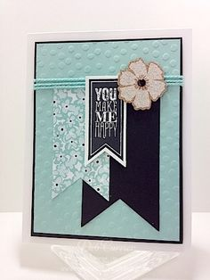 Stamps: Perfect Pennants Paper: Whisper White, Basic Black, Pool Party, Sweet Sorbet designer paper Ink: black StazOn Accessories: Decorativ...