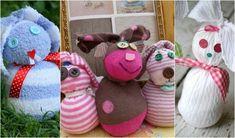 osterhasen basteln kindern-bastelideen-socken-rosa-lila-gestreift-braun-weiss-hasen-knopf-augen-schleife