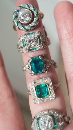 Vintage Emerald Engagement Rings