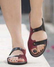 [£ Women's PU Flat Heel Sandals Flats Peep Toe With Buckle shoes - VeryVoga Low Heel Sandals, Lace Up Sandals, Sandals Outfit, Flat Sandals, Fashion Heels, Sneakers Fashion, Sneakers Style, Women's Fashion, Bordeaux