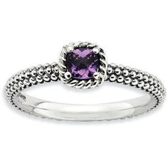 Stackable Expressions Checker-Cut Amethyst Sterling Silver Antiqued Ring, Purple