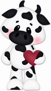VALENTINE'S DAY COW WITH HEART CLIP ART