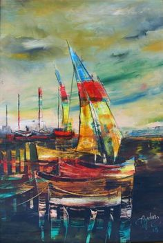 """Saatchi Art Artist Abdullah Aydin Baykara; Painting, """"Sailboats 5"""" #art"""