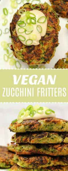 These delicious vegan zucchini fritters are crispy on the outside and moist on t., delicious vegan zucchini fritters are crispy on the outside and moist on the inside with a perfect savory flavor. Quick and easy for a wonderful. Vegan Zucchini Fritters, Vegan Zucchini Recipes, Vegan Dinner Recipes, Vegan Foods, Vegan Dishes, Whole Food Recipes, Cooking Recipes, Healthy Recipes, Vegetarian Dinners