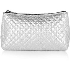 TOPSHOP Tent Zip Top Make-Up Bag ($20) ❤ liked on Polyvore featuring beauty products, beauty accessories, bags & cases, silver, wash bag, topshop, travel dopp kit, makeup purse and cosmetic bag