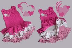 Crochet sweet heart dress for your Little sweetie . Free Pattern. #diycrafts #crochet