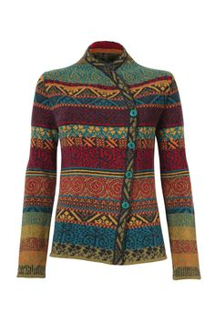 Warm and reliable jacquard jacket with an asymmetrical front closure adorned with rustic wooden buttons. Sweater Knitting Patterns, Crochet Cardigan, Lace Knitting, Crochet Patterns, Knitted Jackets Women, Cardigans For Women, Jackets For Women, Punto Fair Isle, Pull Crochet