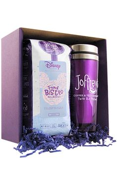 "Give the gift of joie de vivre with this full-bodied dark roast and chic travel mug. Enjoy hints of caramel and chocolate in each cup.<br /> <br /> <div style=""text-align:center;""> 	<i>Includes a one-pound package of ground coffee, ready for brewing, and a 16-ounce travel mug, double-walled for keeping the heat; stainless steel interior.</i></div>"