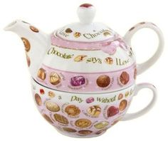 Chocolates Tea for One  10oz Cup ~ 16oz Pot - Roses And Teacups  - 1