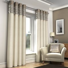 Skye Ring Top Fully Lined Ready Made Eyelet Curtains - Natural