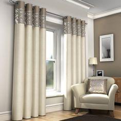 Skye Ring Top Fully Lined Ready Made Eyelet Curtains - Natural