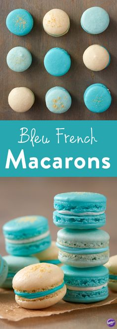 Bleu French Macarons - Learn how to add color and texture to your macarons with this Blue French Macaron project. Baked and decorated in various shades of blue, these homemade macarons are great for baby showers, weddings and so much more. Top your cookies with Gold Pearl Dust and Gold Pearlized Sugar to add a touch of sparkle!
