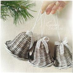 Колокольчик плетеный. Колокольчик новогодний. Елочные украшения. Колокольчики ручной работы.