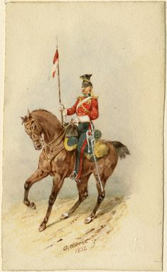 The (or Queen's Royal) Lancers, 1832 Edwardian Era, Victorian, Red Coats, British Uniforms, Napoleonic Wars, Armies, British Army, Military Art, Commonwealth