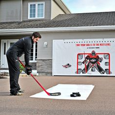 HockeyShot's Extreme Shooting Tarp is a great ice hockey tool for home use. It's big enough to cover large areas, and lets you practice your shot without damaging windows, garage doors and walls. It's easy to install, very durable and great for anyone looking to improve their shot.