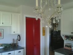 Painted The Boring Bi Fold Pantry Door Red! Fun Pop Of Color For My
