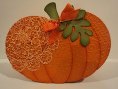 Card Corner by Candee: made with Pumpkin Shape Up Series dies, each section embossed with a different folder. QuickKutz doily die.
