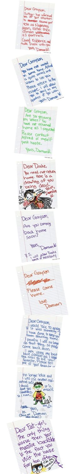 Damian's messages to Grayson: omg this is adorable and sad I almost cried right there.