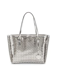 Jet Set Metallic Laser-Perforated Flower Tote Bag, Silver by Michael By Michael Kors at Neiman Marcus Last Call.
