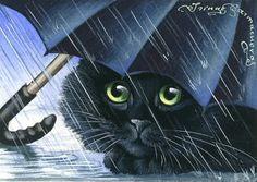 Kitty Art 2 - Blue Umbrella by Irina Garmashova Black Cat Art, Black Cats, Umbrella Art, Blue Umbrella, Street Art Photography, Gatos Cats, Cat Drawing, Animal Paintings, I Love Cats