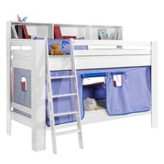 Etagenbett Jan - Buche massiv / Baumwolle - Weiß / Stahlblau, Relita Jetzt bestellen unter: https://moebel.ladendirekt.de/kinderzimmer/betten/etagenbetten/?uid=898ba387-eb3b-54bd-b338-1ba98b1260e7&utm_source=pinterest&utm_medium=pin&utm_campaign=boards #möbel #etagenbetten #kinderzimmer #relita #teens #betten #kids