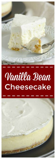 Vanilla Bean Cheesecake – An incredible homemade cheesecake with a vanilla wafer crust, vanilla bean cheesecake filling, and topped with a vanilla bean mousse. An elegant dessert that's easy to make! #cheesecake #vanilla #dessert