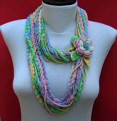 Colorful Bamboo Cotton Crochet Necklace