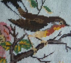Vintage Completed Needlepoint German Robin Bird Thrush Dogwoods Spring Framed