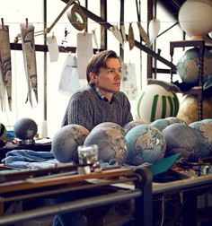 Hal Shinnie photo of Peter Bellerby, Bellerby Globemakers - www.bellerbyandco.com Handmade, bespoke, custom mini desk globe.  Globes, world globe, antique globe, modern globe, handmade globe, bespoke globe, best globe, hand painted, earth, globetrotter, globetrekker, golden globes, the world, bellerby and co.