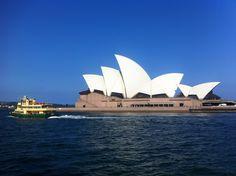 A Sydney ferry passing by the world famous Sydney Opera, Australia.   www.boat-spotting.com