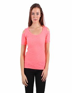 Salmon Red short sleeve blouse with cut-out shoulders