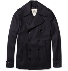 Burberry London Slim-Fit Wool-Blend Peacoat | MR PORTER