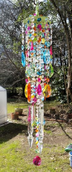 Spring Whimsy Antique Crystal Wind Chime