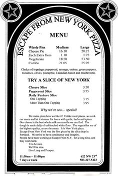 Escape From New York Pizza, Portland OR