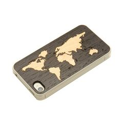 Carved  Handmade Wood iPhone Cases - iPhone 4/4S Case Ebony Map Clear, $25, now featured on Fab.
