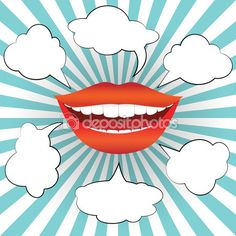Pop art style smiling woman mouth with different blank speech bubbles — Illustration #103619986