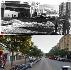 Obres d'urbanització de l'Avinguda del Masnou, l'any 1966 y 2015