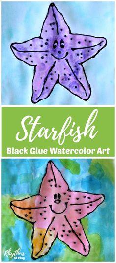 Starfish Black Glue Watercolor Art