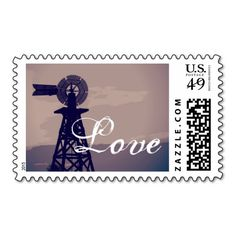 Rustic Country Windmill Love Postage Stamps