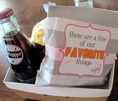 Hotel gift box for wedding guests- Dr. Pepper, Popcorn, candy and a picture of the couple! pink orange gray wedding