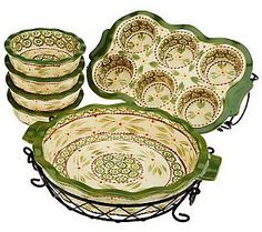 Temp-tations 8pc Bakeware Set    This set in cranberry will be perfect! Love the little mini pie dishes! Red looks good too but might be to bright for my taste ;)