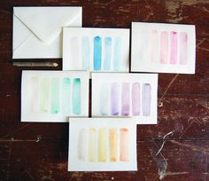 Ombre Watercolor Card Set by Exit185 on Etsy, $10.00