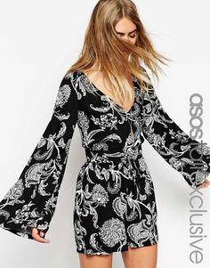 cdfc6879b69c ASOS TALL Exclusive Kimono Sleeve Festival Romper - Multi Festival  Playsuits