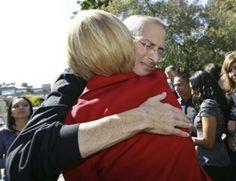 Steve Jobs hugs Barbara Ralston of StanFord Hospital