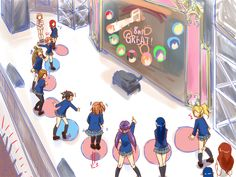Love Live School Idol Festival in some celebrity TV show where the giant buttons to step on are used as game controller.