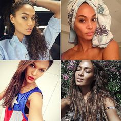 The Puerto Rican supermodel takes every opportunity she has to snap a picture of herself, sometimes alone and sometimes with friends and family. Joan has mastered and even created a few selfie types, from behind-the-scenes shots at photo shoots to bathroom-mirror selfies.