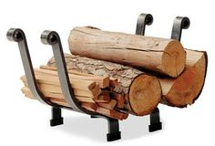 Handcrafted by Enclume this Hearth Rack features a clean, traditional design, with hand-forged rolled ends. This compact graceful log rack is perfect for hearths with very limited space. Indoor Firewood Rack, Firewood Logs, Firewood Holder, Firewood Storage, Storage Baskets, Tool Storage, Garage Storage, Storage Ideas, Log Holder