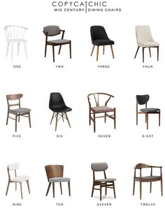 Mid Century Dining Chair Round Up is part of Dining room chairs modern - Home trends All of our favorite midcentury inspired dining chairs copycatchic luxe living for less budget home decor and design Mid Century Dining Chairs, Mid Century Chair, Modern Dining Chairs, Kitchen Chairs, Designer Dining Chairs, Mid Century Modern Chairs, Chairs For Dining Table, Mismatched Dining Chairs, Scandinavian Dining Chairs