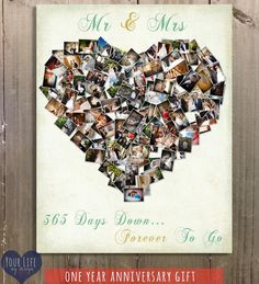 * Wedding Collage Canvas to display on wedding day or * First Anniversary Gift - keep going with the Mint & Gold wedding theme and use it for your 1st Anniversary!